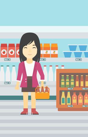 Un joven asiático de pie en la tienda de alcohol. Mujer que sostiene el pack de cerveza en el supermercado. Mujer que se coloca en la sección de alcohol. Vector de diseño plano ilustración. disposición vertical.
