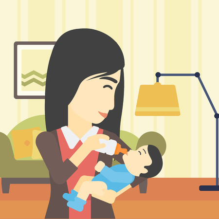 nursing bottle: An asian young mother feeding baby boy with a milk bottle. Mother feeding newborn baby at home. Baby boy drinking milk from bottle. Vector flat design illustration. Square layout. Illustration