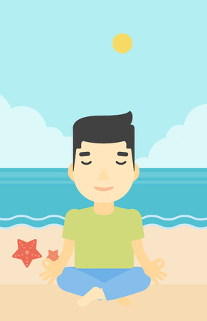man meditating: An asian young man meditating in yoga lotus pose on the beach. Man relaxing on the beach in the yoga lotus position. Vector flat design illustration. Vertical layout.