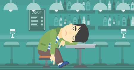 deeply: An asian drunk man deeply sleeping near the bottle of wine and glass on table. Drunk man sleeping in bar. Alcohol addiction concept. Vector flat design illustration. Horizontal layout.