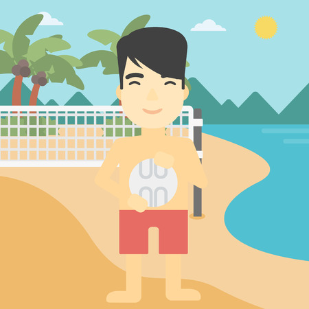 shore: An asian young sportsman holding volleyball ball in hands. Sportive beach volleyball player standing at the shore with voleyball net. Vector flat design illustration. Square layout.