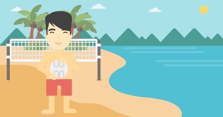 sportive: An asian young sportsman holding volleyball ball in hands. Sportive beach volleyball player standing at the shore with voleyball net. Vector flat design illustration. Horizontal layout.