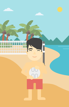 volley: An asian young sportsman holding volleyball ball in hands. Sportive beach volleyball player standing at the shore with voleyball net. Vector flat design illustration. Vertical layout. Illustration