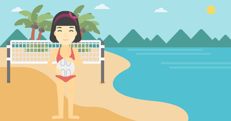 shore: An asian young sports woman holding volleyball ball in hands. Sportive beach volleyball player standing at the shore with voleyball net. Vector flat design illustration. Horizontal layout.