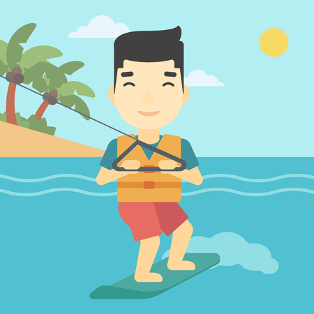 waterskiing: An asian sportsman wakeboarding on the sea. Wakeboarder making tricks. Man studying wakeboarding. Young man riding wakeboard. Vector flat design illustration. Square layout.
