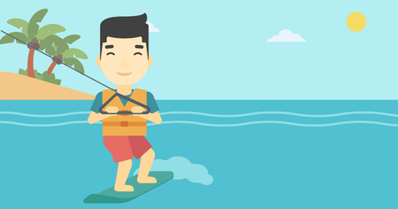 An asian sportsman wakeboarding on the sea. Wakeboarder making tricks. Man studying wakeboarding. Young man riding wakeboard. Vector flat design illustration. Horizontal layout. Vettoriali