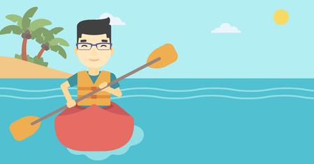 kayaker: An asian sportsman riding in a kayak in the sea. Young man traveling by kayak. Male kayaker paddling. Man paddling a canoe. Vector flat design illustration. Horizontal layout. Illustration