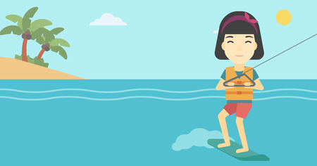 An asian sports woman wakeboarding on the sea. Wakeboarder making tricks. Woman studying wakeboarding. Young woman riding wakeboard. Vector flat design illustration. Horizontal layout.