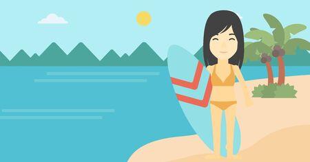 Un surfista asiático de pie con una tabla de surf en la playa. surfista profesional de sexo femenino con una tabla de surf en la playa. Vector de diseño plano ilustración. disposición horizontal. Vectores