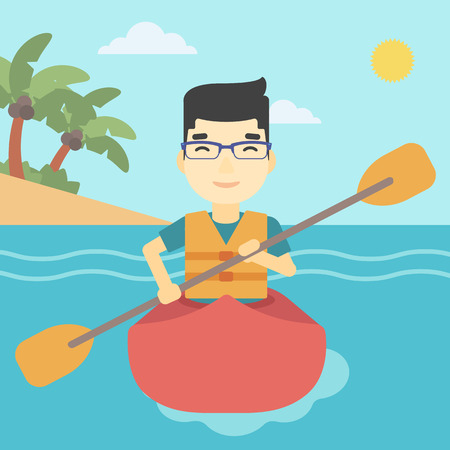 kayaker: An asian sportsman riding in a kayak in the sea. Young man traveling by kayak. Male kayaker paddling. Man paddling a canoe. Vector flat design illustration. Square layout. Illustration