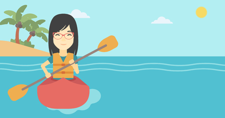 kayaker: An asian sports woman riding in a kayak in the sea. Young woman traveling by kayak. Female kayaker paddling. Woman paddling a canoe. Vector flat design illustration. Horizontal layout.