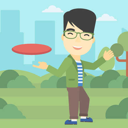 sportive: An asian sportive man playing flying disc in the park. Man throwing a flying disc. Sportsman catching flying disc outdoors. Vector flat design illustration. Square layout.