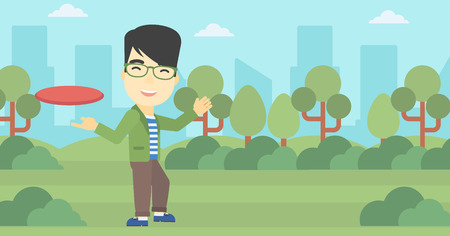 sportive: An asian sportive man playing flying disc in the park. Man throwing a flying disc. Sportsman catching flying disc outdoors. Vector flat design illustration. Horizontal layout. Illustration