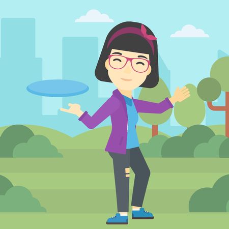 sportive: An asian sportive woman playing flying disc in the park. Young woman throwing a flying disc. Sportswoman catching flying disc outdoors. Vector flat design illustration. Square layout. Illustration