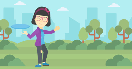 sportswoman: An asian sportive woman playing flying disc in the park. Young woman throwing a flying disc. Sportswoman catching flying disc outdoors. Vector flat design illustration. Horizontal layout. Illustration