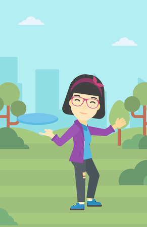 sportive: An asian sportive woman playing flying disc in the park. Young woman throwing a flying disc. Sportswoman catching flying disc outdoors. Vector flat design illustration. Vertical layout.