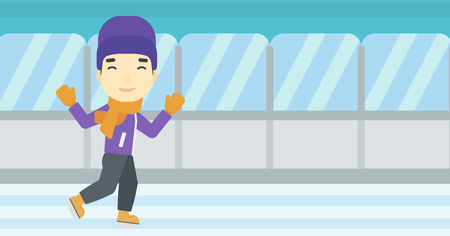 skating rink: An asian young man ice skating on indoor ice skating rink. Sport and leisure concept. Vector flat design illustration. Horizontal layout.