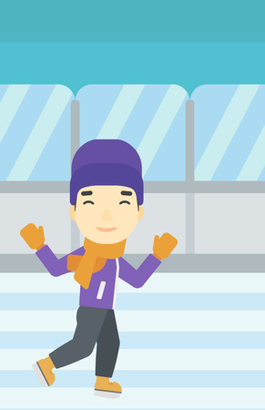 indoor sport: An asian young man ice skating on indoor ice skating rink. Sport and leisure concept. Vector flat design illustration. Vertical layout.