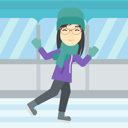 skating rink: An asian young woman ice skating on indoor ice skating rink. Sport and leisure concept. Vector flat design illustration. Square layout. Illustration