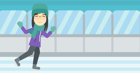 iceskating: An asian young woman ice skating on indoor ice skating rink. Sport and leisure concept. Vector flat design illustration. Horizontal layout.