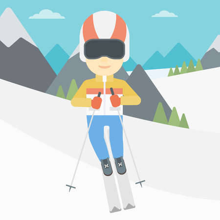 downhill skiing: An asian sportsman skiing on the background of snow capped mountain. Skier skiing downhill in mountains. Male skier on downhill slope. Vector flat design illustration. Square layout. Illustration