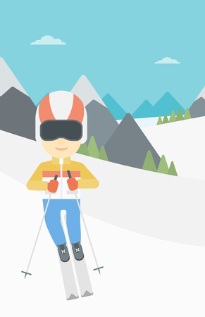 snow capped: An asian sportsman skiing on the background of snow capped mountain. Skier skiing downhill in mountains. Male skier on downhill slope. Vector flat design illustration. Vertical layout. Illustration