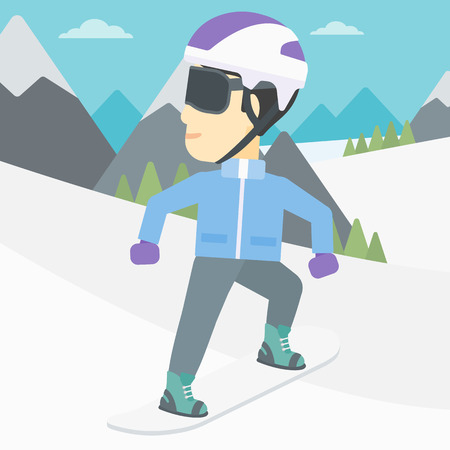 An asian sportsman snowboarding on the background of snow capped mountain. Young man snowboarding in the mountains. Vector flat design illustration. Square layout.