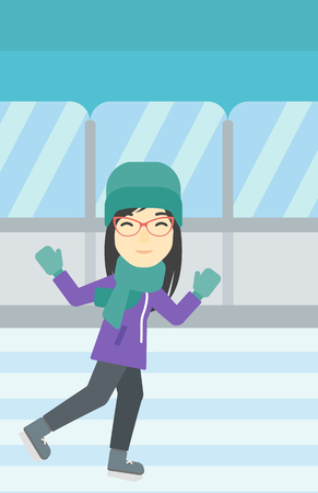 skating rink: An asian young woman ice skating on indoor ice skating rink. Sport and leisure concept. Vector flat design illustration. Vertical layout.