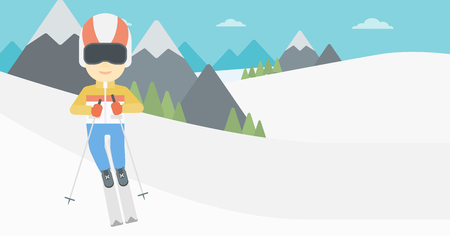 downhill skiing: An asian sportsman skiing on the background of snow capped mountain. Skier skiing downhill in mountains. Male skier on downhill slope. Vector flat design illustration. Horizontal layout.