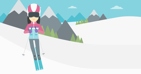 downhill skiing: An asian woman skiing on the background of snow capped mountain. Skier skiing downhill in mountains. Female skier on downhill slope. Vector flat design illustration. Horizontal layout.