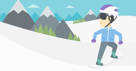 An asian sportsman snowboarding on the background of snow capped mountain. Young man snowboarding in the mountains. Vector flat design illustration. Horizontal layout. Illustration