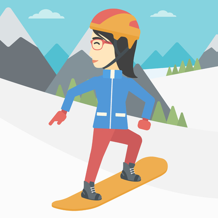 snow capped: An asian sportswoman snowboarding on the background of snow capped mountain. Woman snowboarding in the mountains. Snowboarder in action. Vector flat design illustration. Square layout.