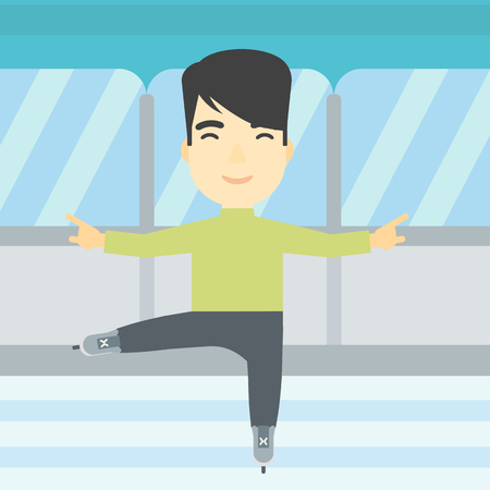 skating rink: An asian figure skater with the beard performing on indoor ice skating rink. Young hipster male figure skater dancing. Vector flat design illustration. Square layout. Illustration
