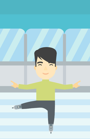 skating rink: An asian figure skater with the beard performing on indoor ice skating rink. Young hipster male figure skater dancing. Vector flat design illustration. Vertical layout. Illustration