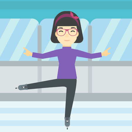 skating rink: An asian female figure skater performing on indoor ice skating rink. Professional young female figure skater dancing. Vector flat design illustration. Square layout. Illustration