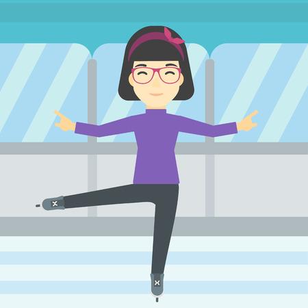 figure skater: An asian female figure skater performing on indoor ice skating rink. Professional young female figure skater dancing. Vector flat design illustration. Square layout. Illustration