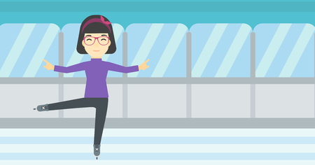 skating rink: An asian female figure skater performing on indoor ice skating rink. Professional young female figure skater dancing. Vector flat design illustration. Horizontal layout.