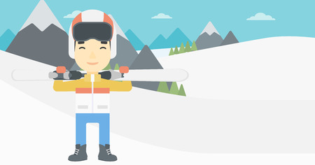 snow capped: An asian sportsman carrying skis on his shoulders on the background of snow capped mountains. Vector flat design illustration. Horizontal layout.