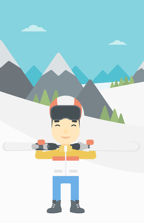 snow capped: An asian sportsman carrying skis on his shoulders on the background of snow capped mountains. Vector flat design illustration. Vertical layout. Illustration