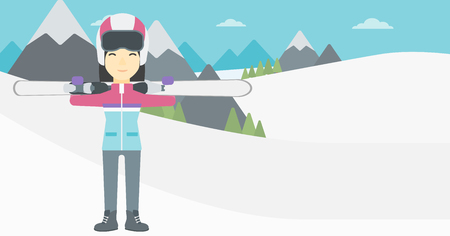 snow capped: An asian woman carrying skis on her shoulders on the background of snow capped mountains. Vector flat design illustration. Horizontal layout.