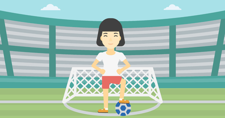 sportswoman: An asian sportswoman standing with football ball on the football stadium. Young professional football player with a soccer ball on the field. Vector flat design illustration. Horizontal layout. Illustration