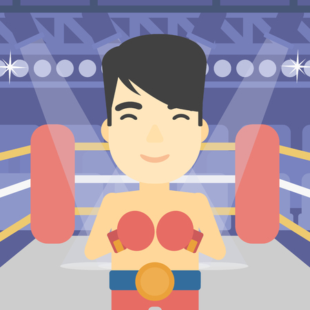 boxing ring: An asian sportsman in boxing gloves. Young professional male boxer standing in the boxing ring. Vector flat design illustration. Square layout.