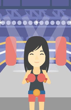 boxing ring: An asian sportswoman in boxing gloves. Young professional female boxer standing in the boxing ring. Vector flat design illustration. Vertical layout.