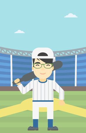 An asian young baseball player standing on a baseball stadium. Professional baseball player with a bat on his shoulder. Vector flat design illustration. Vertical layout.