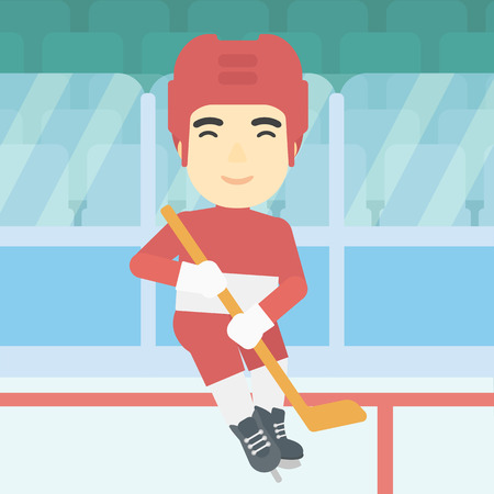 ice hockey player: An asian ice hockey player skating on ice rink. Professional ice hockey player with a stick. Sportsman playing ice hockey. Vector flat design illustration. Square layout.