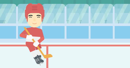 ice hockey player: An asian ice hockey player with the beard skating on ice rink. Professional ice hockey player with a stick. Sportsman playing ice hockey. Vector flat design illustration. Horizontal layout.