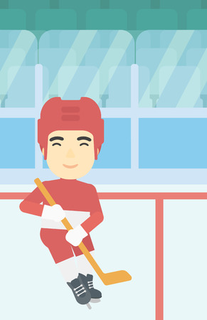ice hockey player: An asian ice hockey player with the beard skating on ice rink. Professional ice hockey player with a stick. Sportsman playing ice hockey. Vector flat design illustration. Vertical layout.