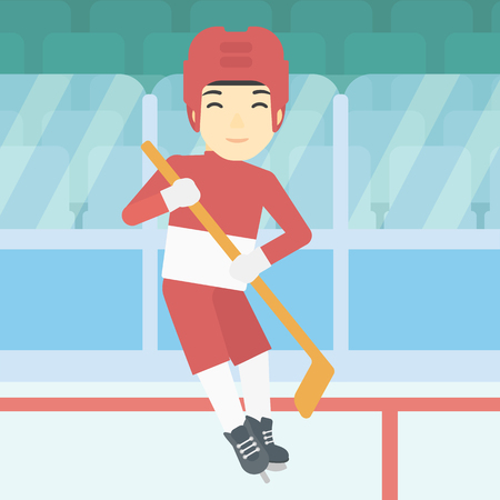 ice hockey player: An asian female ice hockey player skating on ice rink. Professional ice hockey player with a stick. Sportswoman playing ice hockey. Vector flat design illustration. Square layout.