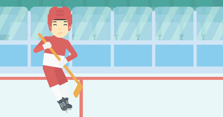 ice hockey player: An asian female ice hockey player skating on ice rink. Professional ice hockey player with a stick. Sportswoman playing ice hockey. Vector flat design illustration. Horizontal layout.