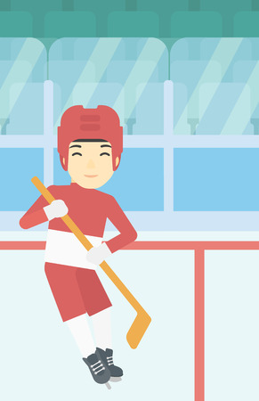 ice hockey player: An asian female ice hockey player skating on ice rink. Professional ice hockey player with a stick. Sportswoman playing ice hockey. Vector flat design illustration. Vertical layout.